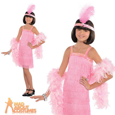 Child Pink Flapper Costume Girls 1920s Gatsby Fancy Dress Outfit New