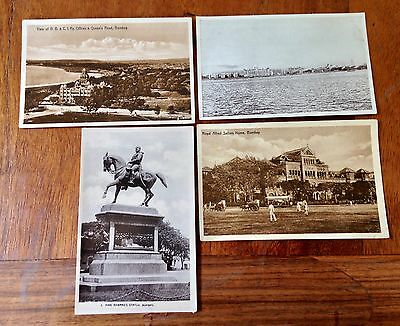 4 VINTAGE POSTCARDS OF BOMBAY/MUMBAY Including B.B.&C.I. Ry Offices & Queen's Rd