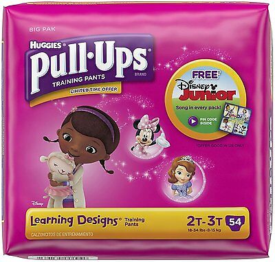 NEW Huggies Pull Ups Learning Designs Training Pants for Girls Size 2T-3T / 54pc