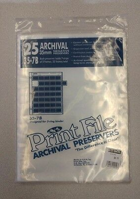 25-Pack 35mm Film Archival Preservers clear Negative Pages Sleeves Print File