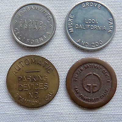 Lot of 4 California parking tokens - Sacramento, Lodi, Stanton, San Francisco CA
