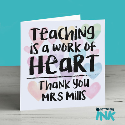 Personalised School Teacher Leaving Card - Thank You Miss Mrs - Work Of Heart