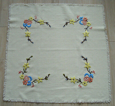 Vintage Hand Embroidered Linen Tablecloth Table runner w/ Flowers & Easter eggs