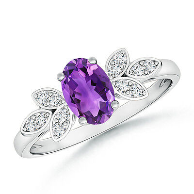Vintage Style Oval Solitaire Amethyst Ring with Diamond 14k Solid White Gold