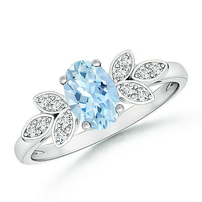 Vintage Style Oval Solitaire Aquamarine Ring with Diamond 14k Solid White Gold