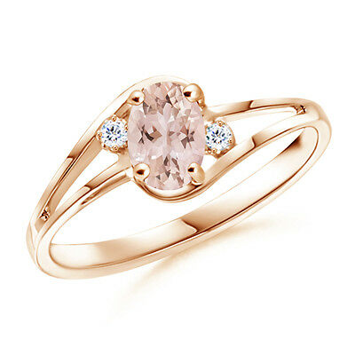 Solitaire Oval Natural Morganite With Diamond Engagement Ring 14k Rose Gold