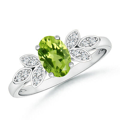 Vintage Style Oval Solitaire Peridot Ring with Diamond 14k Solid White Gold
