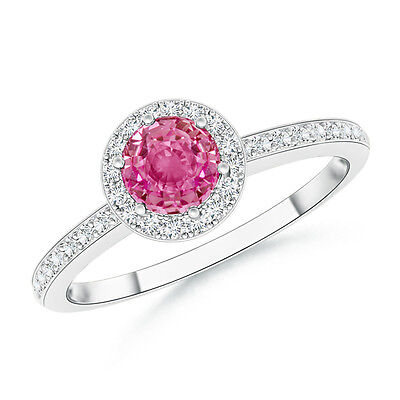 Round Natural Pink Sapphire With Diamond Halo Engagement Ring 14k White Gold