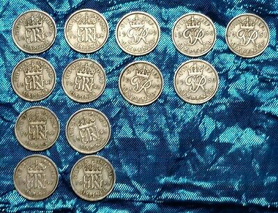 13 X George Vi Sixpence Coins In Excellent To Uncirculated Condition