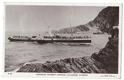 ILFRACOMBE Excursion Paddle Steamer Entering Harbour, RP Postcard Posted 1911