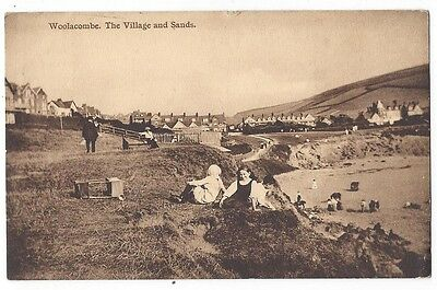 WOOLACOMBE The Village and Sands, Old Postcard by JV Hughes, Postally Used c1910
