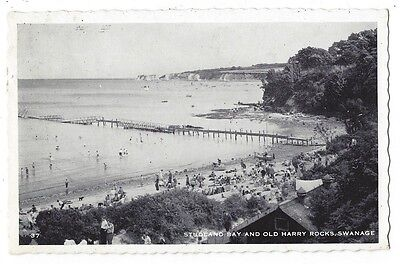 STUDLAND BAY and Old Harry Rocks, Collapsed Pier/Jetty, RP postcard 1961