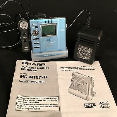 Sharp Portable Minidisc Recorder MD-MT877H with charging dock and remote