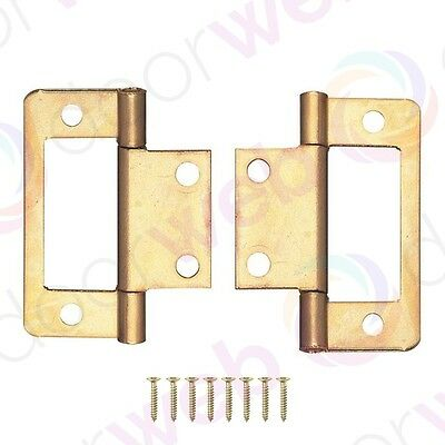 FLUSH SURFACE DOOR HINGES PAIR Hurl Louvre Cupboard Cabinet Electro Brass 50mm