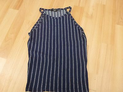Girls New Look 915 Generation  Navy Striped Sleeveless Top Size 14-15 Yrs Ec