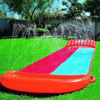 Kids Water Ramp 18' Slip Slide 2 Person Backyard Summer Pool Sprinkler Racer NEW