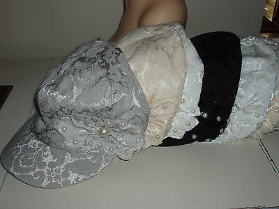 Wholesale lot of 6 Newsboy brimmed hats Assorted twill with pearls & flower