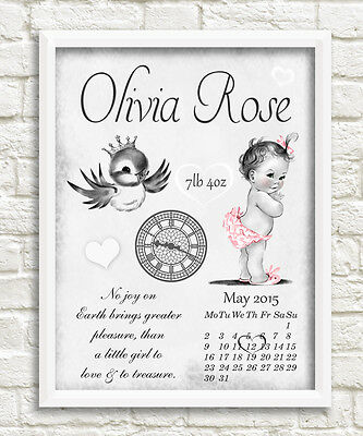 Newborn personalised print girl birth gift christening nursery