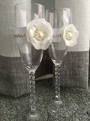 Wedding Bride and Groom with Flower Toasting Flutes