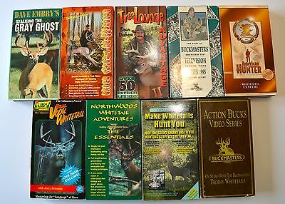 Lot 9 VHS Whitetail Deer Hunting Calls Bowhunting Stands Trophy Bucks Scent VHS