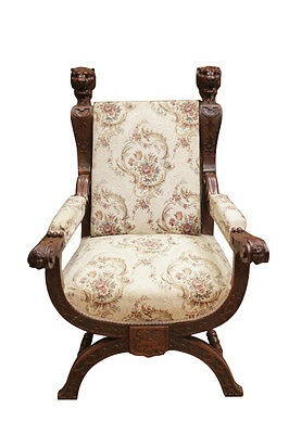 Antique French Renaissance Figural Arm Chair, Walnut, 19th Century