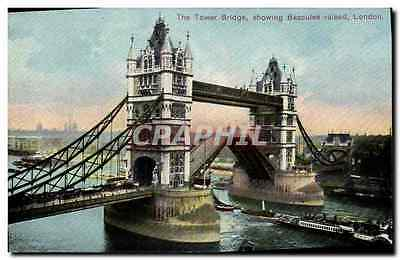 CPA London The Tower Bridge Showing Bascules raised Bateau
