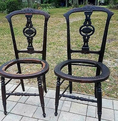 2 accent parlor side chair Carved walnut Black Forest victorian antique vintage