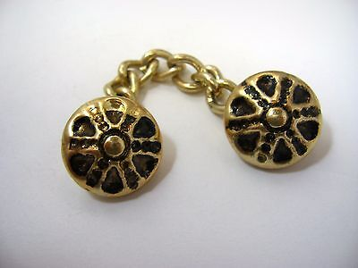 Vintage Jewelry Linked Chain Buttons Ball Center Wheel Spoke Design