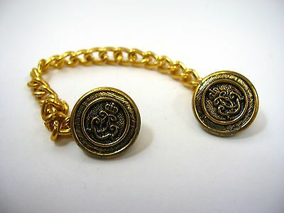 Vintage Jewelry Linked Chain Buttons Crown Fancy Scroll-work Gold Tone Design