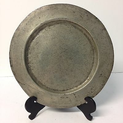 Antique Polished Pewter Plate / Small Charger 27.7cm Diameter