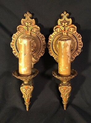 Set Of 2 Antique LAPCO 1920's 1930's Art Deco Cast Iron Wall Sconces  1848 VTG