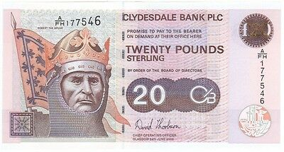 Clydesdale Bank Plc -  £20 Dated 2006, Prefix A/fh, Uncirculated.