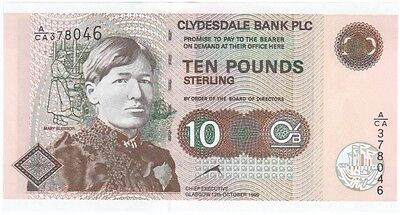 Clydesdale Bank Plc, £10 Dated 1999, Prefix A/ca, Uncirculated