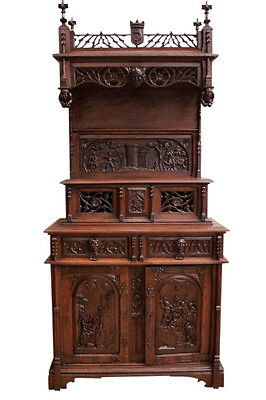 Well Carved Antique French Gothic Cabinet, Medieval with Battle scenes, Oak