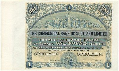 Commercial Bank Of Scotland Ltd. £1, 1904 Specimen Note, Uncirculated And Rare