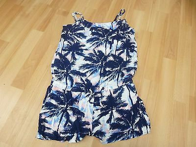 Girls H&m Blue & Pink Tropical Print Playsuit Size 13-14 Yrs Ec Strappy