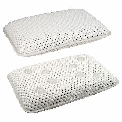 White Relaxing Spongy Cushioned Luxury Bath Spa Pillow Rest Neck Head Bathroom