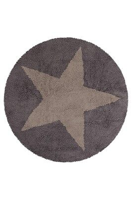 Lorena Canals Reversible Round Star Washable Rug Linen/Dark Grey 140cm Diameter