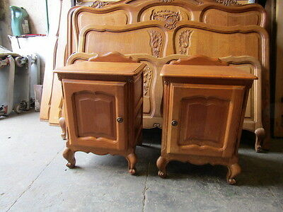 Pair of vintage Louis XV style French oak bedside tables.cupboards,cabinets