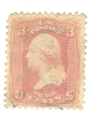 Scott 65 Early US Stamp 3c Washington..1861-62..Light Cancel... No Grill