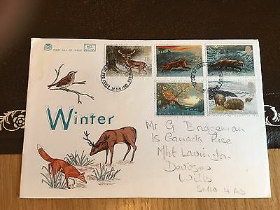 Gb Stuart Fdc 1992 Winter Fox Deer Rabbit Sheep