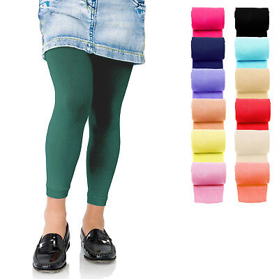 KIDS FASHION Girls Soft Microfiber FOOTLESS Tights 60 Denier Colours Years 4-13