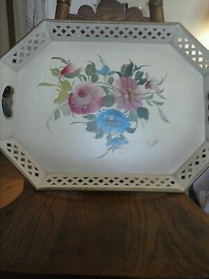 Vintage Tole/Toleware Nashco Pink/Blue Floral Tray Handpainted Signed Label