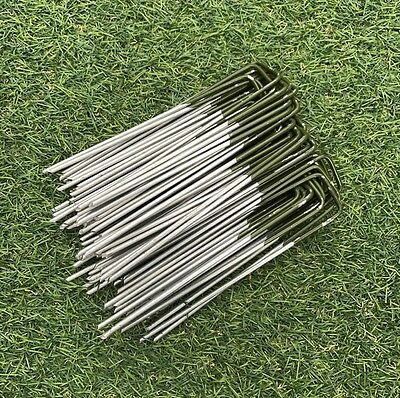 Green topped Artificial Grass Turf U Pins Metal Galvanised Pegs Staples