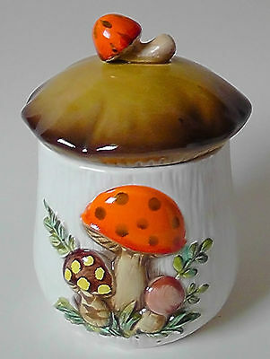 Vintage Sears & Roebuck Merry Mushroom Ceamic Kitchen Storage Small Canister