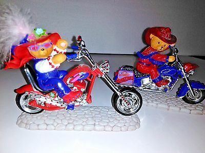 2 Motorcycle Red Hat Society Hamilton Red Hot Momma Collection Resin Figurines