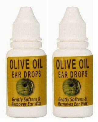2 x Olive Oil Ear Drops Gently Softens & Removes Ear Wax, 15ml Each