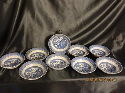 9 JOHNSON Bros. England 'BLUE WILLOW' Cereal BOWLS~Excellent Condition