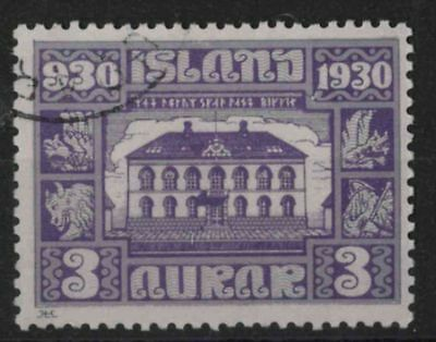 t296) Iceland. 1930. Used. SG 158 3a Violet & lilac. Anniversaries