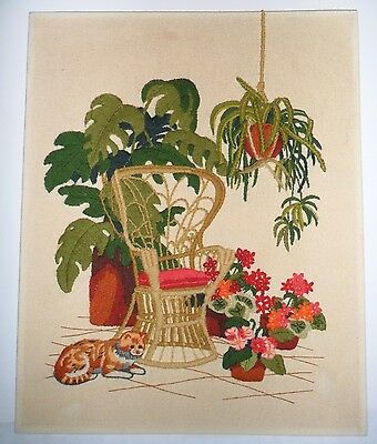 Vt 1970s Completed Sunset Crewel Embroidery Needlepoint Rattan Wicker Chair Cat